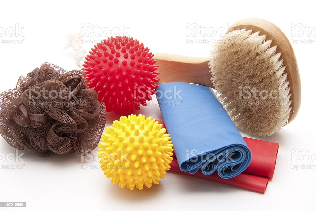 Gymnastics tape with massage ball stock photo