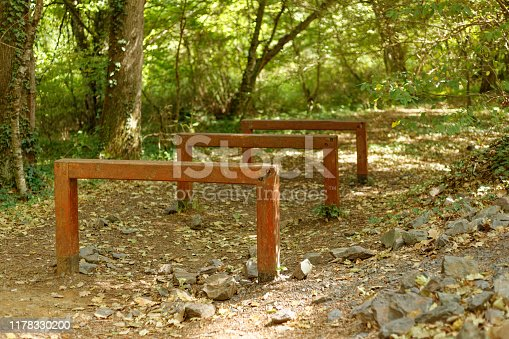 Gymnastics balance beams located in forest for training purpose. Shot is taken in autumn season and dry yellow leaves on the ground.