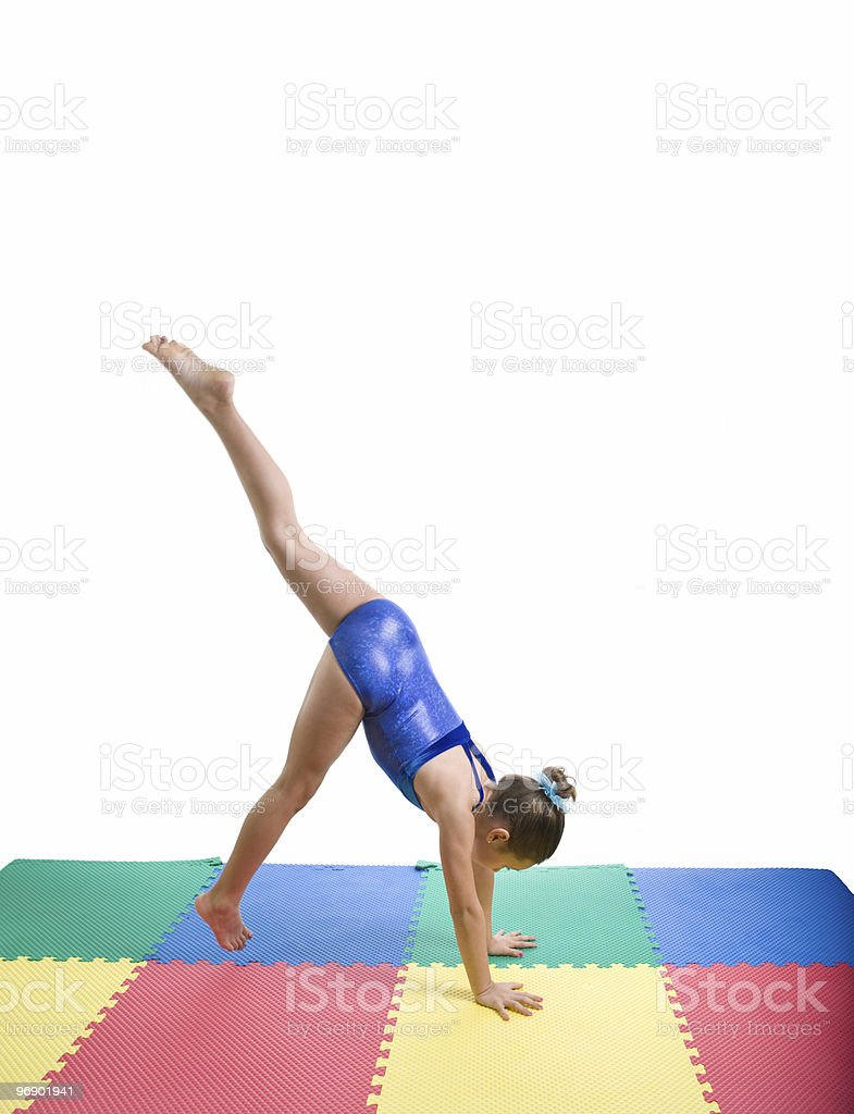 Gymnist Moving Into A Handstand royalty-free stock photo