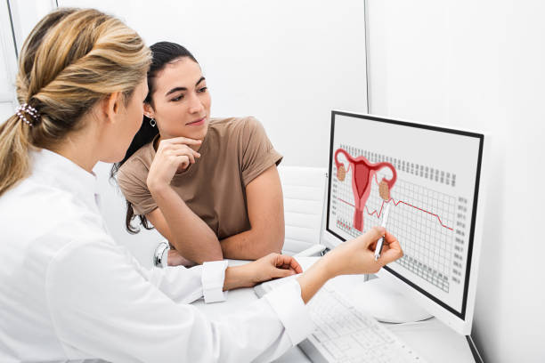 gynecologist communicates with her patient, indicating the menstrual cycle on the monitor. The reproductive specialist calculated the period of ovulation for the patient gynecologist communicates with her patient, indicating the menstrual cycle on the monitor. The reproductive specialist calculated the period of ovulation for the patient menses stock pictures, royalty-free photos & images