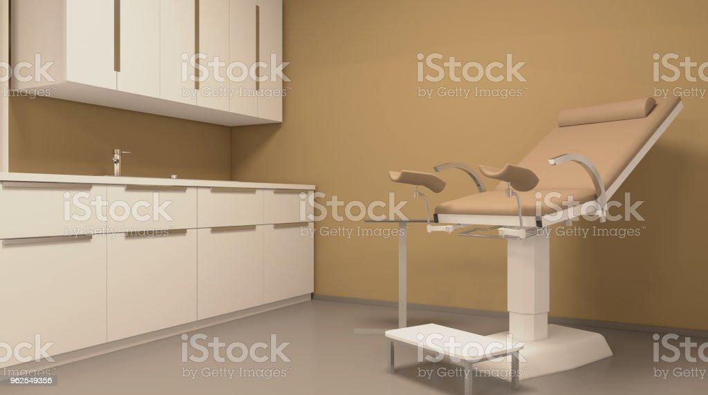Escritório de ginecologista, exame do ginecologista. Renderização 3D. - Foto de stock de Analisando royalty-free