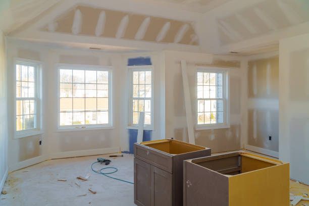 gypsum board ceiling of house at construction site Gypsum plaster boards ceiling of house at construction site plaster ceiling design stock pictures, royalty-free photos & images