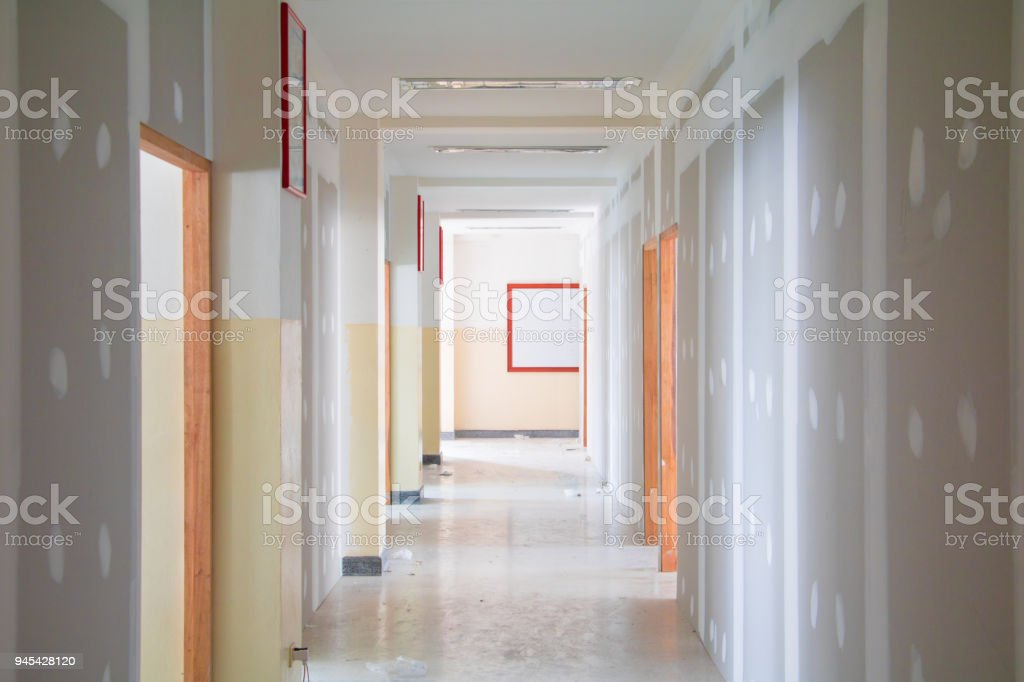 Gypsum Board Wall Interior Decoration Of Home At Construction Site ...