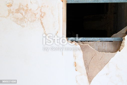 istock gypsum ceiling inside damaged by water leaking 966931698