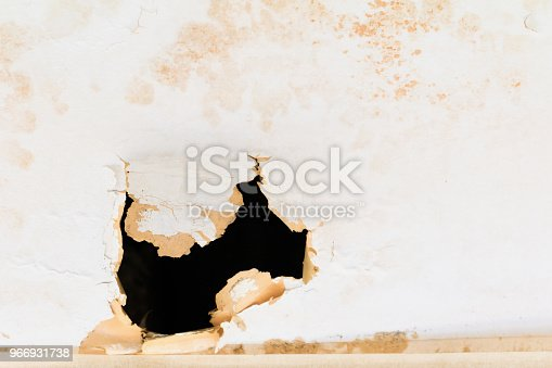 istock gypsum ceiling inside damaged by water leaking 966931738