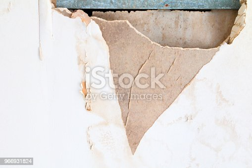 istock gypsum ceiling inside damaged by water leaking 966931824