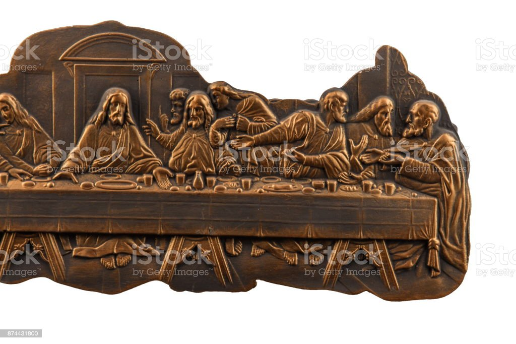 Gypsum dimensional picture with biblical scenes and the Last Supper Way to Calvary. stock photo