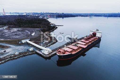 Aerial drone view of a gypsum ore freighter.