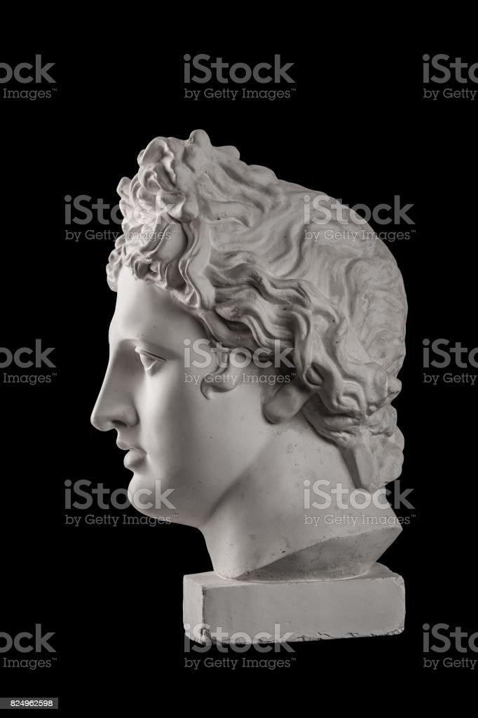Gypsum statue of Apollo's head stock photo