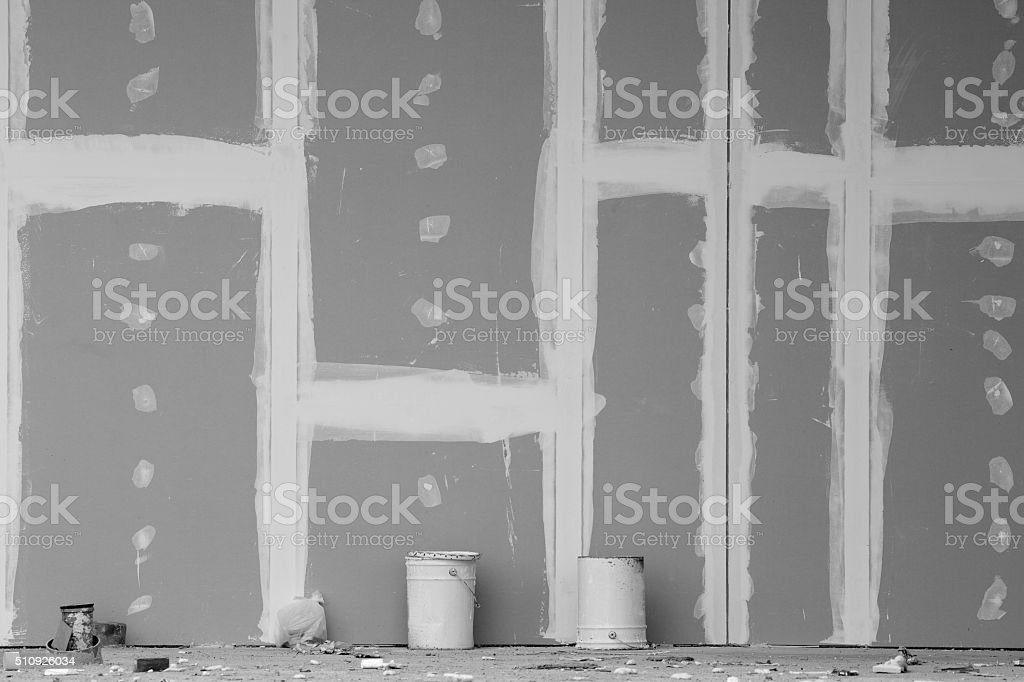 Gypsum wall under construction stock photo