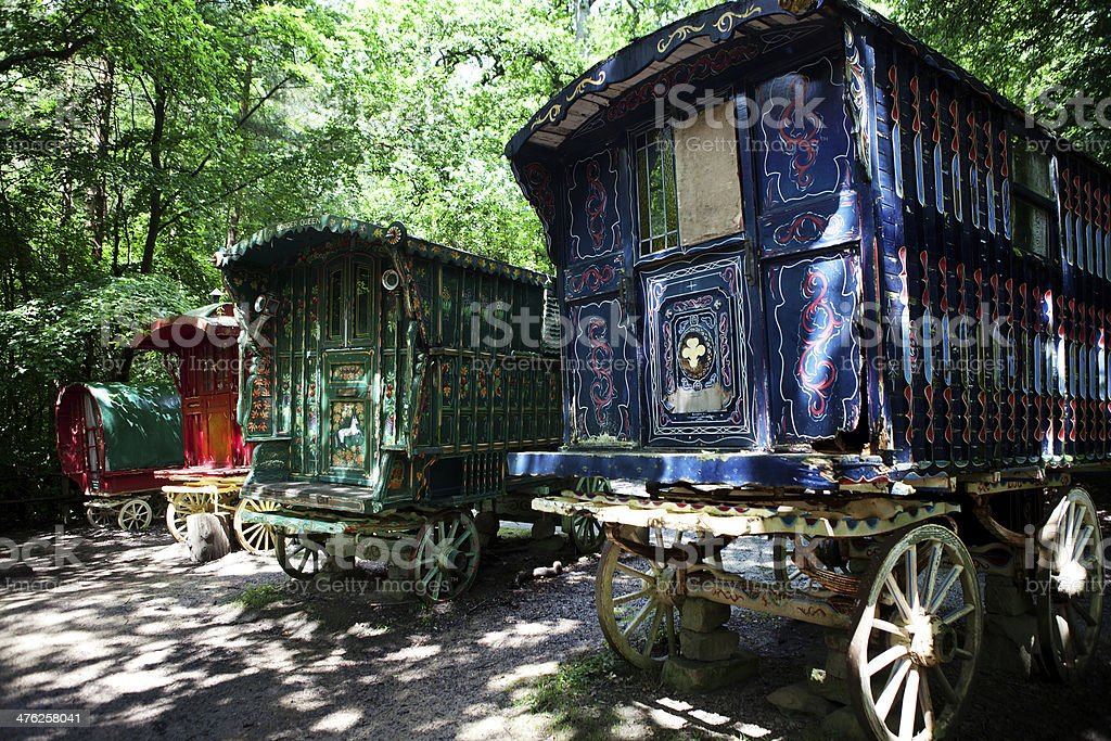 gypsy caravan forest cart stock photo