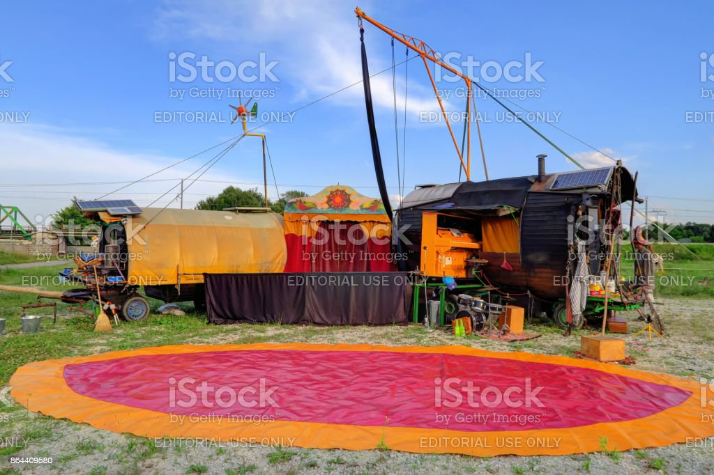 gypsy carvan circus outdoor performance stock photo