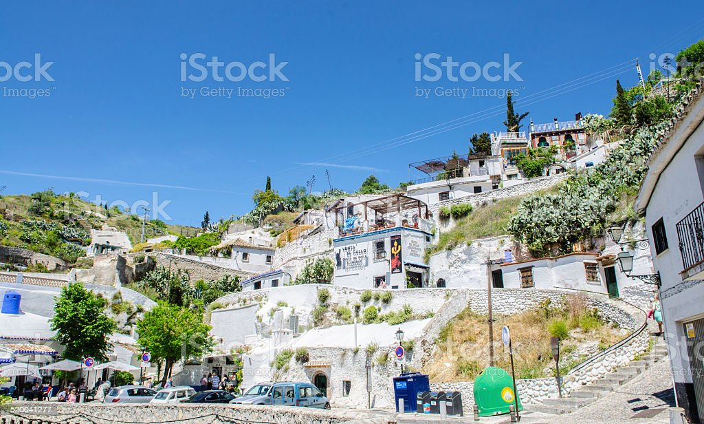 Gypsy Cave Sacromonte neighborhood in Granada, Andalucia, Spain stock photo