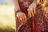 istock Gypsy fashion hand accessories 526312263