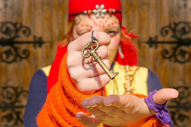gypsy mädchen barock key - baroque tattoo stock-fotos und bilder