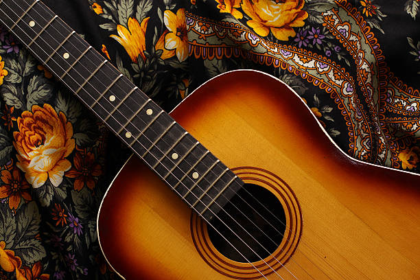 Gypsy Guitar Isolated On Headscarf Gypsy Guitar Isolated On Headscarf romani people stock pictures, royalty-free photos & images
