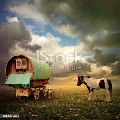 An Old Gypsy Caravan, Trailer, Wagon with a Horse