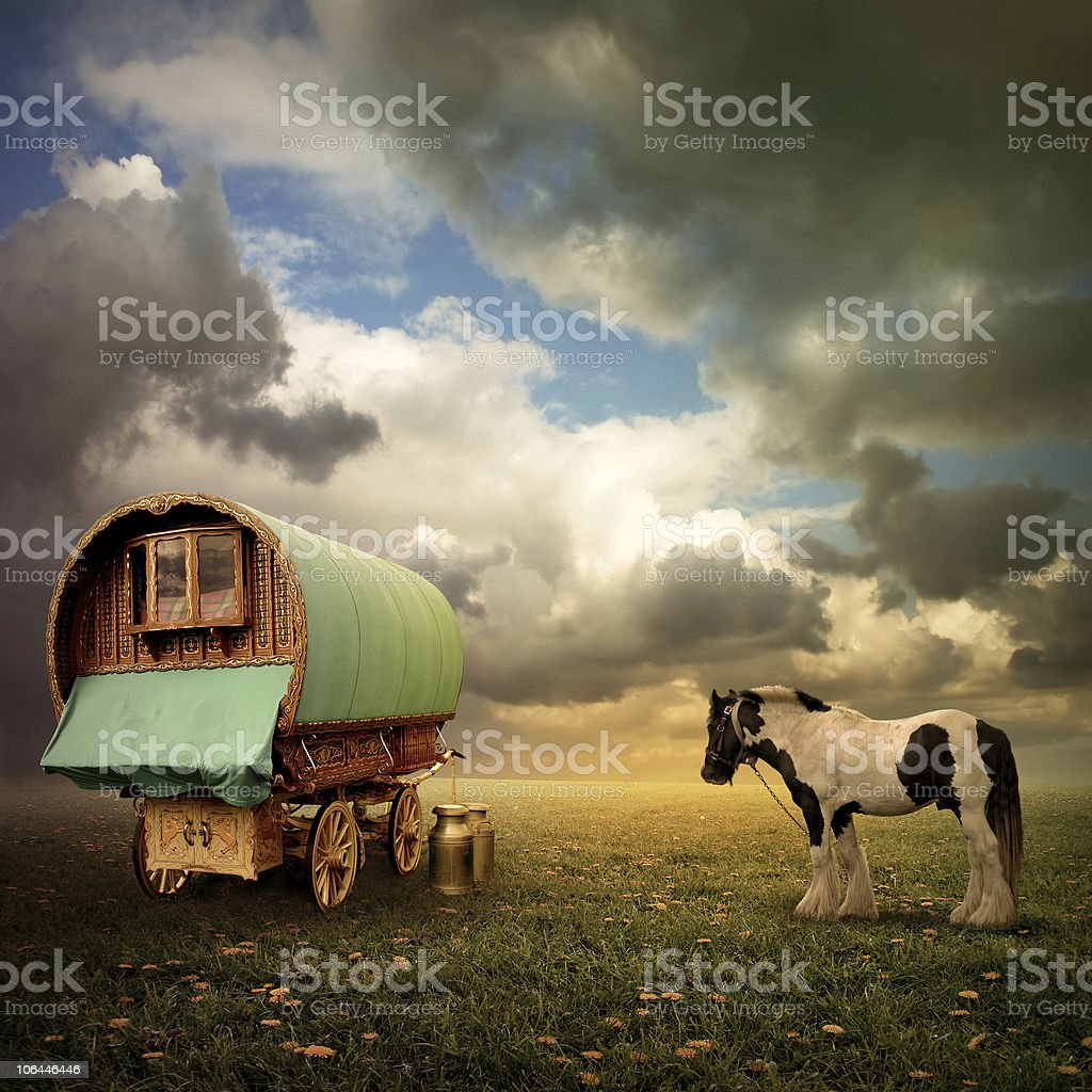 Gypsy Wagon, Caravan stock photo