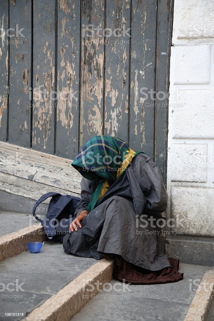 Gypsy Woman Begging on Venice Staircase  Adult Stock Photo