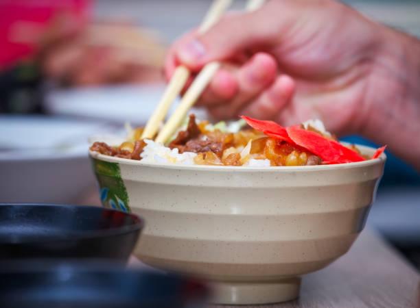 牛丼伝統的な日本料理。ご飯でタマネギと肉のスライス。牛丼 - 丼物 ストックフォトと画像