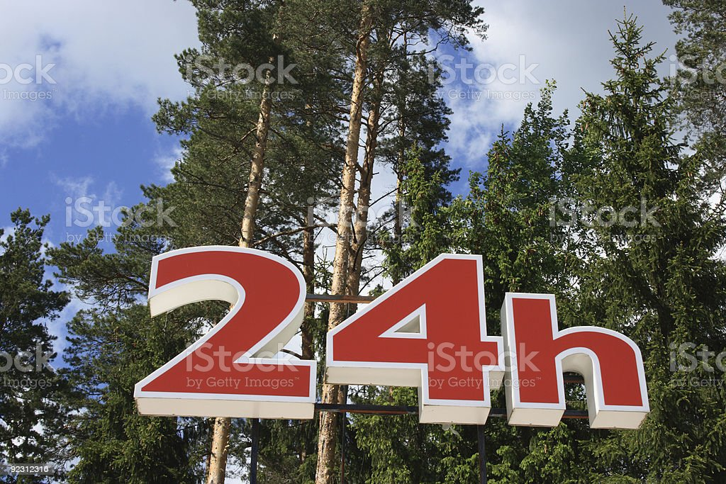24 h Sign royalty-free stock photo