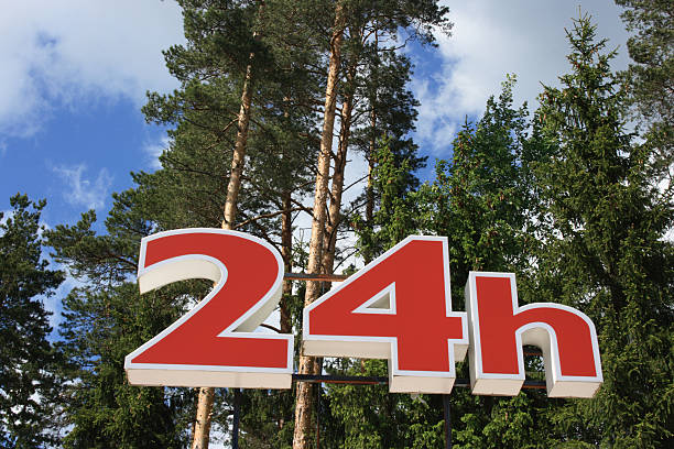 24 h Sign stock photo