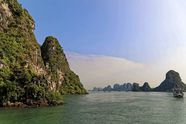 Ha long karst islands on a sunny day