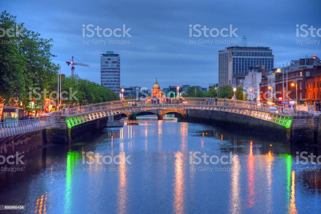 Ha Penny Bridge in Dublin, Ireland stock photo