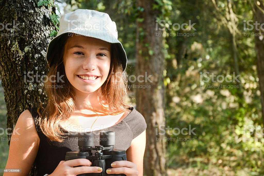 Haapy explorer child in the forest stock photo