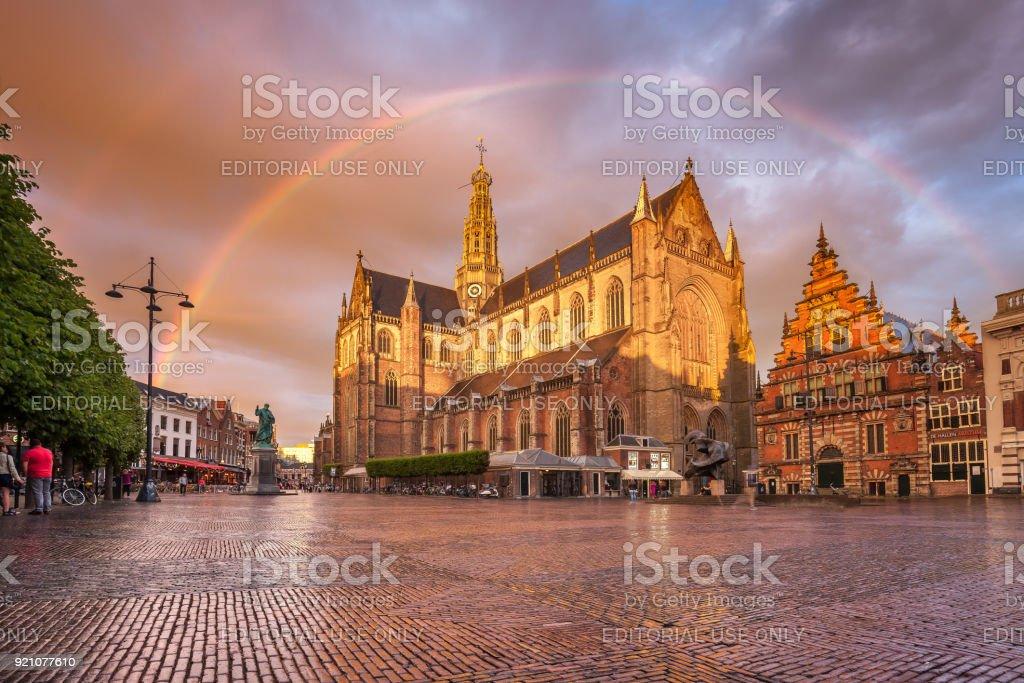Haarlem city center stock photo