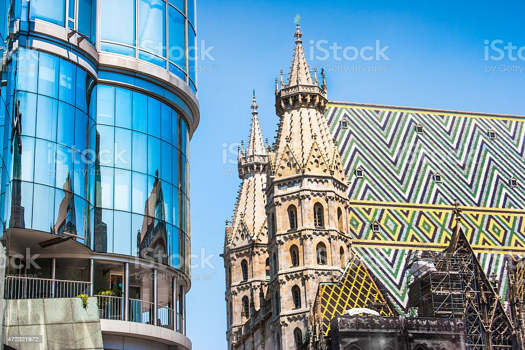 Haas Haus with St. Stephen's Cathedral in Vienna, Austria stock photo