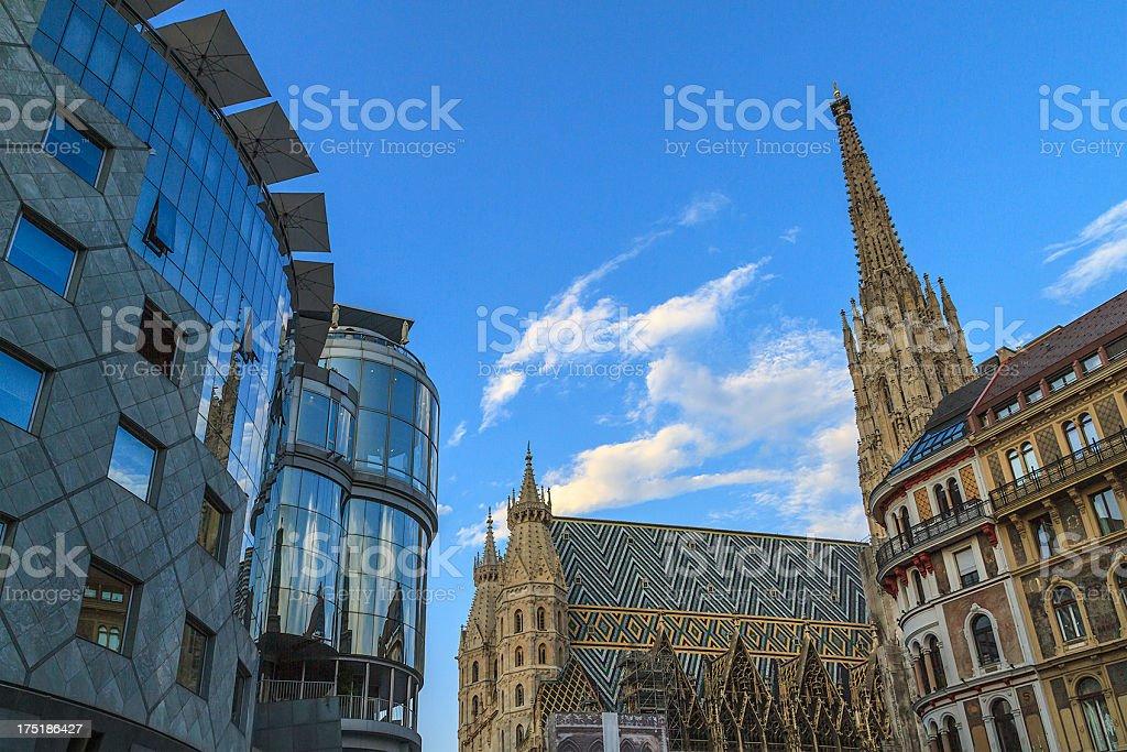 Haas-Haus & Stephansdom, Vienna stock photo