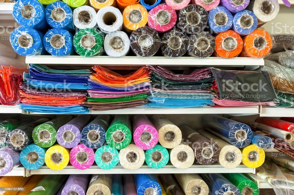 Haberdashery Coloured Material. Extreme Close-Up stock photo