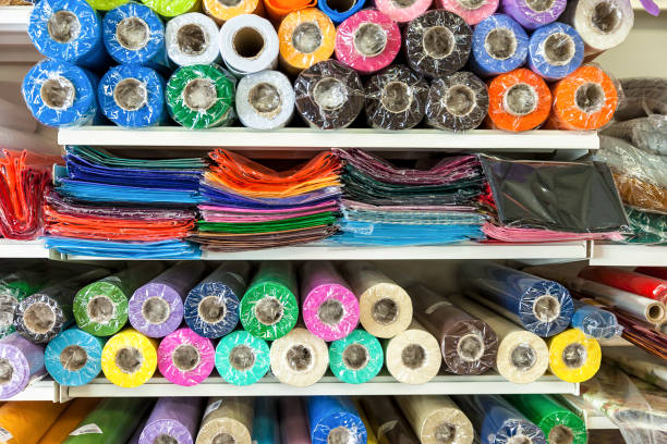 Haberdashery Coloured Material. Extreme Close-Up stock photo