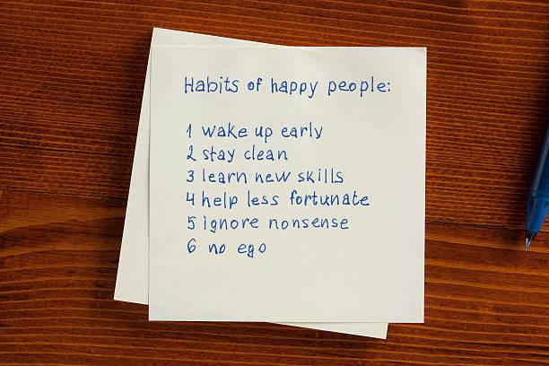 Habit of happy people written on note picture id536676592?b=1&k=6&m=536676592&s=612x612&w=0&h=docoh o0fwgnf3nsz8wg3n 26ptsqlula4chdothhww=