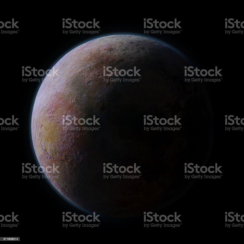 habitable exoplanet isolated on black background stock photo