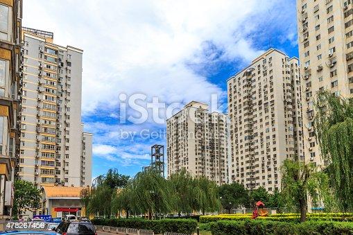 habitation buildings with famous Beijing Blue.