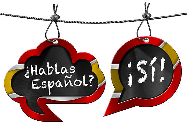 Hablas Espanol - Two Speech Bubbles Two speech bubbles with Spanish flag and text Hablas Espanol? Si! Hanging from a steel cable and isolated on white yes single word stock pictures, royalty-free photos & images