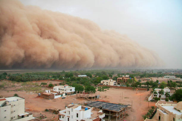 A haboob (desert dust storm) approaching the outskirts of Khartoum, Sudan A haboob approaching the outskirts of Khartoum, Sudan. A haboob is a type of intense dust storm carried on wind that occur regularly in Sudan. Khartoum is the capital and largest city of Sudan, located at the confluence of the White Nile, flowing north from Lake Victoria in Uganda, and the Blue Nile, flowing west from Ethiopia. Khartoum is composed of 3 cities: Khartoum proper, Khartoum North and Omdurman. omdurman stock pictures, royalty-free photos & images