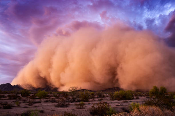 Haboob dust storm in the Arizona desert stock photo