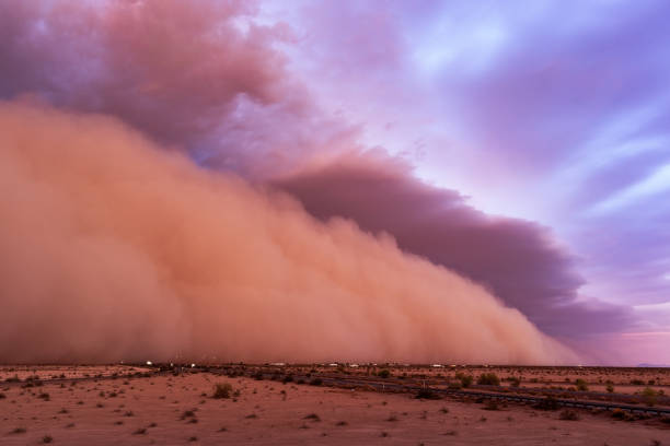Haboob dust storm in the desert stock photo