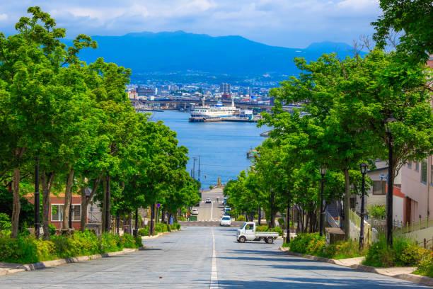 Hachimanzaka Slope at Hokkaido Hakodate Japan stock photo
