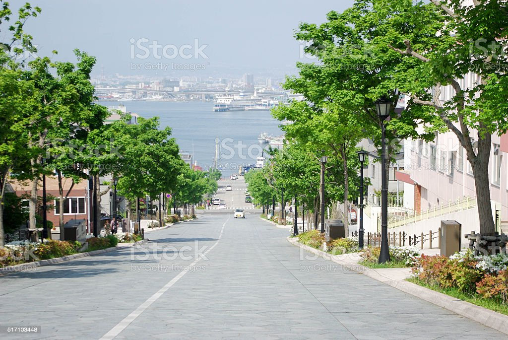 Hachimanzaka slope in Hakodate, Japan royalty-free stock photo