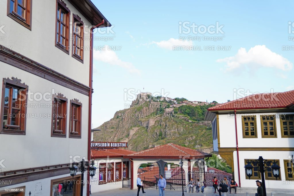 Haci bayram square is famous for Muslims and Ankara Castle in background stock photo