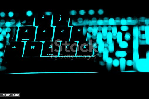 istock Hack text on the illuminated buttons of the keyboard 525213030