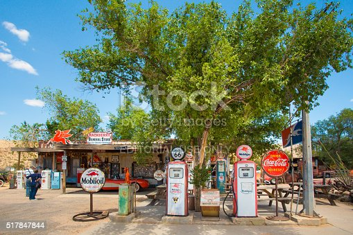 Hackberry, Arizona, USA  - May 8, 2014: View of  roadside Route 66 gas station and memorabilia store in Hackberry Arizona. Route 66, also known as The Mother Road, is well known for it's Americana and roadside attractions.