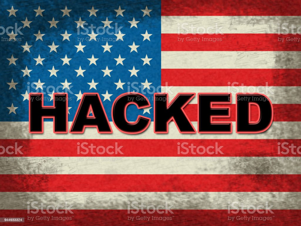 Hacked American Flag Grunge Shows Hacking Election 3d Illustration stock photo