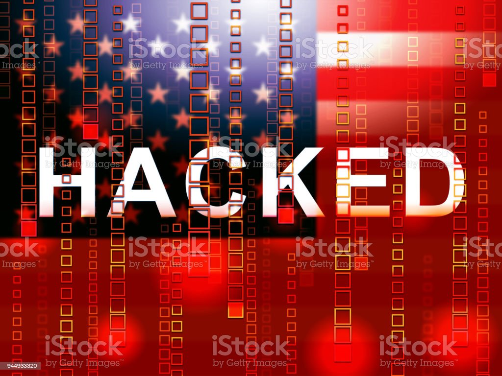 Hacked American Flag Means Hacking Election 3d Illustration stock photo