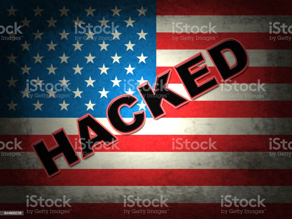 Hacked American Flag Showing Hacking Election 3d Illustration stock photo