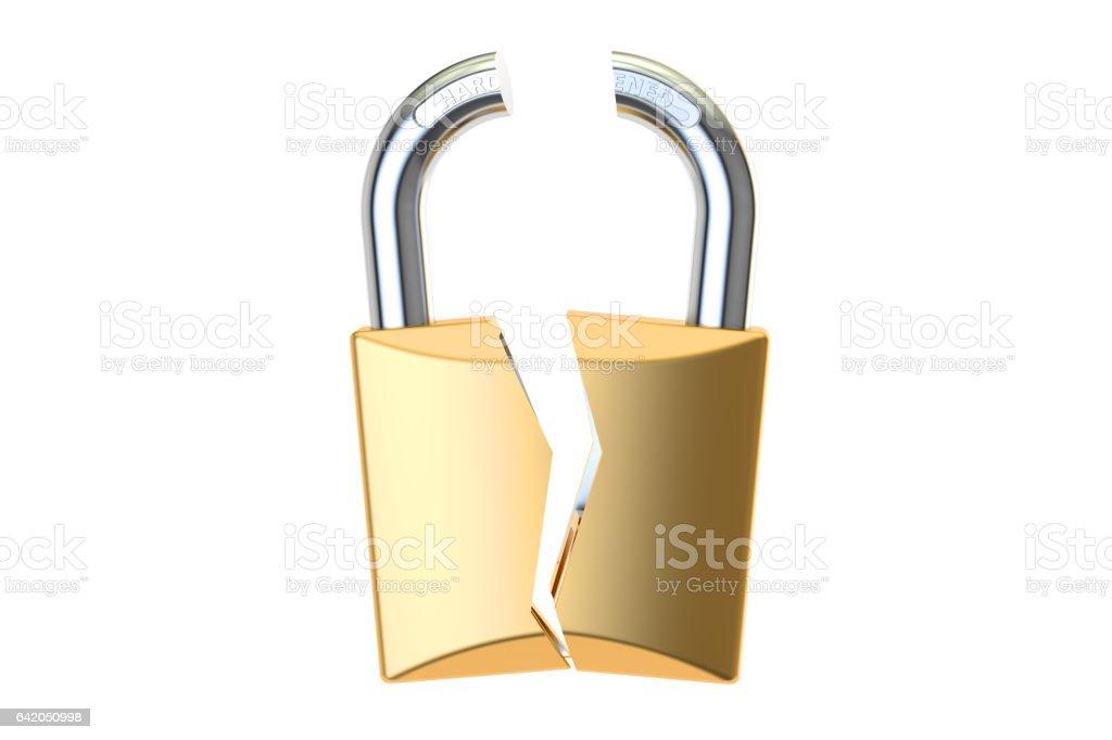 Hacked padlock, 3D rendering stock photo